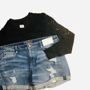 Nwt ripped jean shorts Midi 17